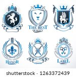 set of vector retro vintage... | Shutterstock .eps vector #1263372439
