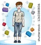 teen cute little boy standing... | Shutterstock .eps vector #1263380836