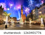 new year fireworks display in... | Shutterstock . vector #1263401776