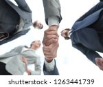 bottom view.business handshake | Shutterstock . vector #1263441739
