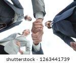 bottom view.business handshake | Shutterstock . vector #1263441739