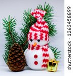 photo of a snowman  a gift in a ... | Shutterstock . vector #1263458899