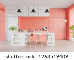 kitchen interior with living... | Shutterstock . vector #1263519409