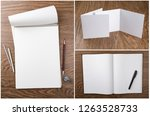 set of notebooks and booklets... | Shutterstock . vector #1263528733