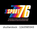 Stock vector retro sport style colorful font design alphabet letters and numbers vector illustration 1263585343