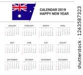 calendar 2019 australia flag... | Shutterstock .eps vector #1263587323