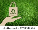 say no to plastic bags. paper... | Shutterstock . vector #1263589546