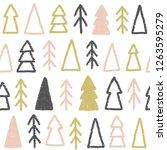 cute christmas trees. hand... | Shutterstock . vector #1263595279