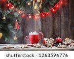 christmas cookies on wooden... | Shutterstock . vector #1263596776