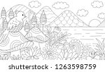 hand drawn of bird sitting on... | Shutterstock .eps vector #1263598759