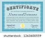 light blue certificate template.... | Shutterstock .eps vector #1263600559
