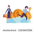 business couple with dollar and ... | Shutterstock .eps vector #1263602386