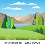 trees  mountains and lake | Shutterstock .eps vector #126360926