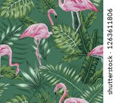 exotic bird pink flamingo on... | Shutterstock .eps vector #1263611806