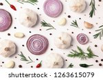 composition with garlic ... | Shutterstock . vector #1263615079