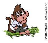 pensive monkey wearing glasses   Shutterstock .eps vector #1263621370