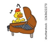 pianist chicken   yellow chicken   Shutterstock .eps vector #1263622273