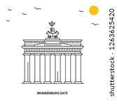 brandenburg gate monument.... | Shutterstock .eps vector #1263625420
