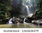 mahua waterfall is a plunge... | Shutterstock . vector #1263636379