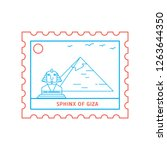 sphinx of giza postage stamp... | Shutterstock .eps vector #1263644350