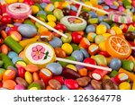 colorful candy on white background - stock photo