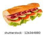 salami sandwich on white background - stock photo