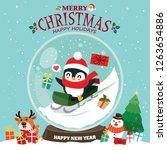 vintage christmas poster design ... | Shutterstock .eps vector #1263654886