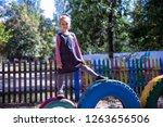 little cute girl on the...   Shutterstock . vector #1263656506