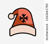 christmas hat concept line icon....