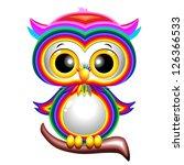 Rainbow Baby Owl Cartoon