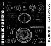 futuristic black and white hud  ... | Shutterstock .eps vector #1263690220
