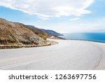 left turn of mountain highway...   Shutterstock . vector #1263697756