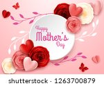 happy mother's day with rose...   Shutterstock .eps vector #1263700879
