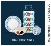 thai vintage food container set | Shutterstock .eps vector #1263723820