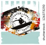 vintage surf summer scene with... | Shutterstock .eps vector #126373250