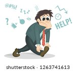 overworked and tired... | Shutterstock .eps vector #1263741613