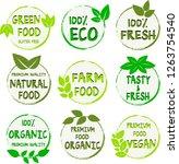 organic food  farm fresh and... | Shutterstock .eps vector #1263754540