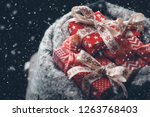 red christmas gift boxes with... | Shutterstock . vector #1263768403