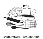 hand drawn illustration cooking ... | Shutterstock .eps vector #1263803986
