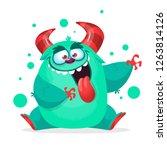 happy monster showing tongue.... | Shutterstock .eps vector #1263814126