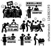 supermarket market shoppers... | Shutterstock . vector #126382193