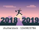 man businessman jumps from 2018 ... | Shutterstock .eps vector #1263823786