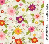 seamless pattern for spring... | Shutterstock .eps vector #1263824689