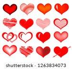 set of vector hearts. hand... | Shutterstock .eps vector #1263834073