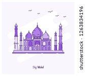 taj mahel landmark purple... | Shutterstock .eps vector #1263834196