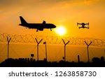 unmanned drone flying over... | Shutterstock . vector #1263858730