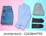 winter woolen hat  sweater ... | Shutterstock . vector #1263864790