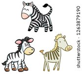 funny and cute smiling zebra... | Shutterstock .eps vector #1263879190