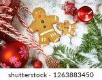 christmas decoration background | Shutterstock . vector #1263883450