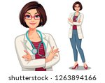 beautiful young lady doctor... | Shutterstock .eps vector #1263894166